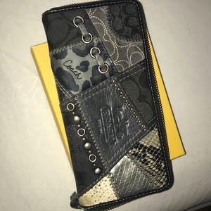 Coach patchwork large zipper wallet